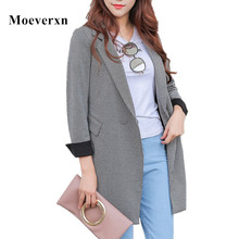 Women Plaid Blazer Jacket Outwear 2017 Autumn Mid-length Single Button Long Sleeve Turn Back Cuff  Work Wear Casual Female Coat