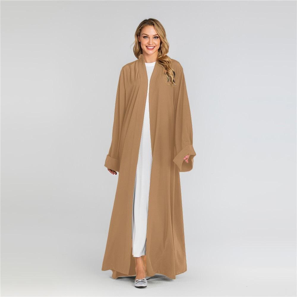 Cor Sólida Manga Comprida Árabe Robe Vestido Meio vestido leste