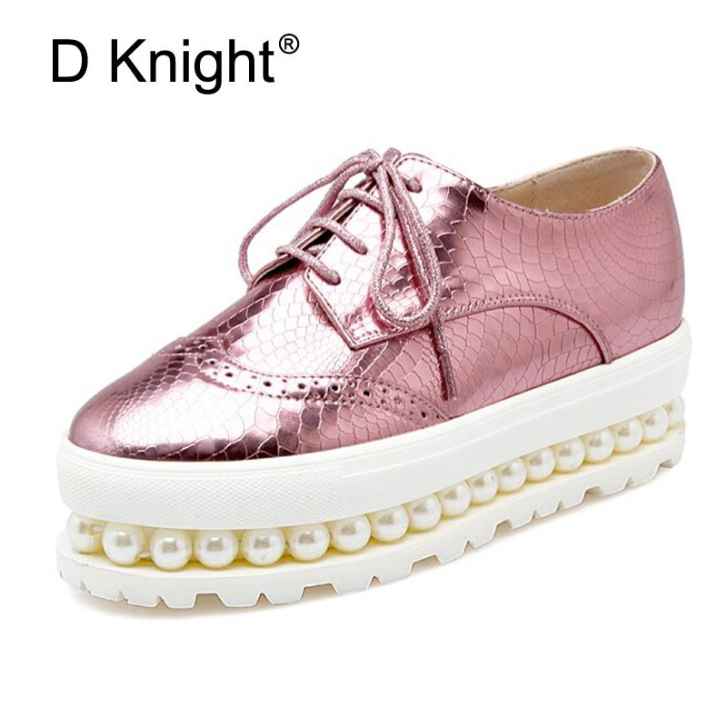 String Bead Flats Platform Shoes Woman New Leisure Oxfords Serpentine Creepers Women Brogue Shoes Plus Size 32-43 Silver Pink qmn women crystal embellished natural suede brogue shoes women square toe platform oxfords shoes woman genuine leather flats
