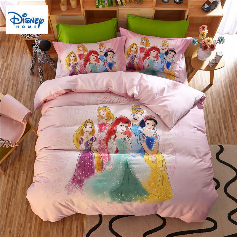 Disney Pink Princess Bedding Set Queen Size Comforter Duvet Covers For Kids Bedroom Decor Twin Bed Sheets Cotton Bedspread Girls Bedding Sets Aliexpress