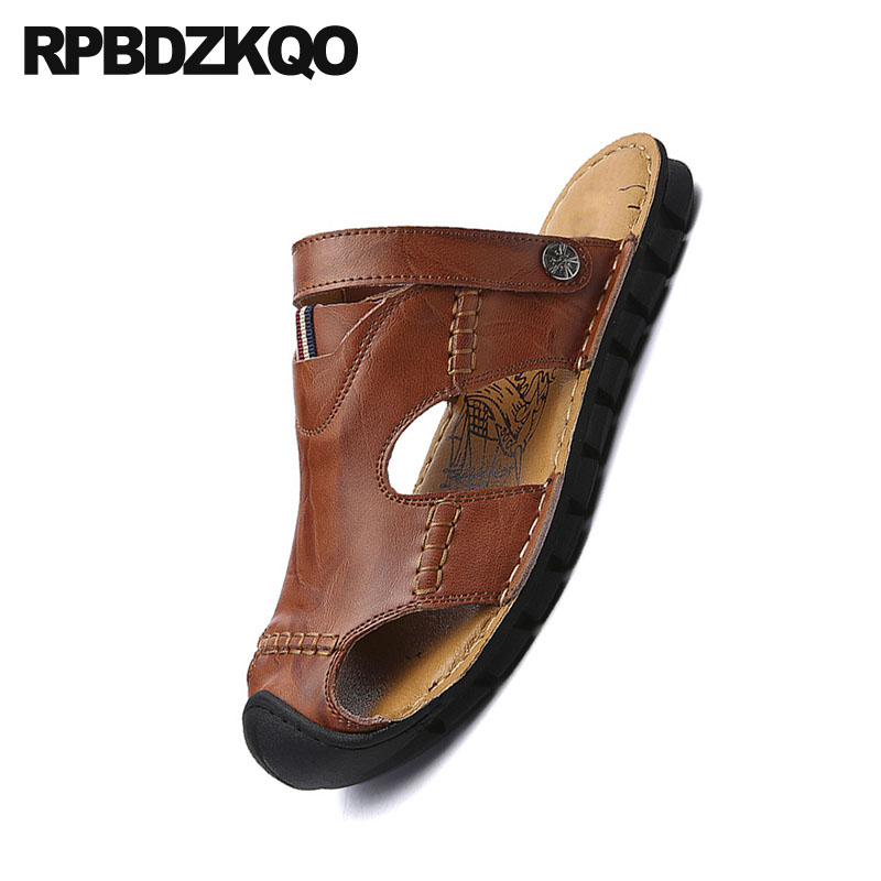 Mens Real Leather Sandals Black Brown Slip on Mules Back Strap Walking Slippers