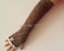 2016 solid Lace knitted Fingerless Gloves Ballet Dance button glove burn out long Arm Warmers  Fashion 7 colors #3706