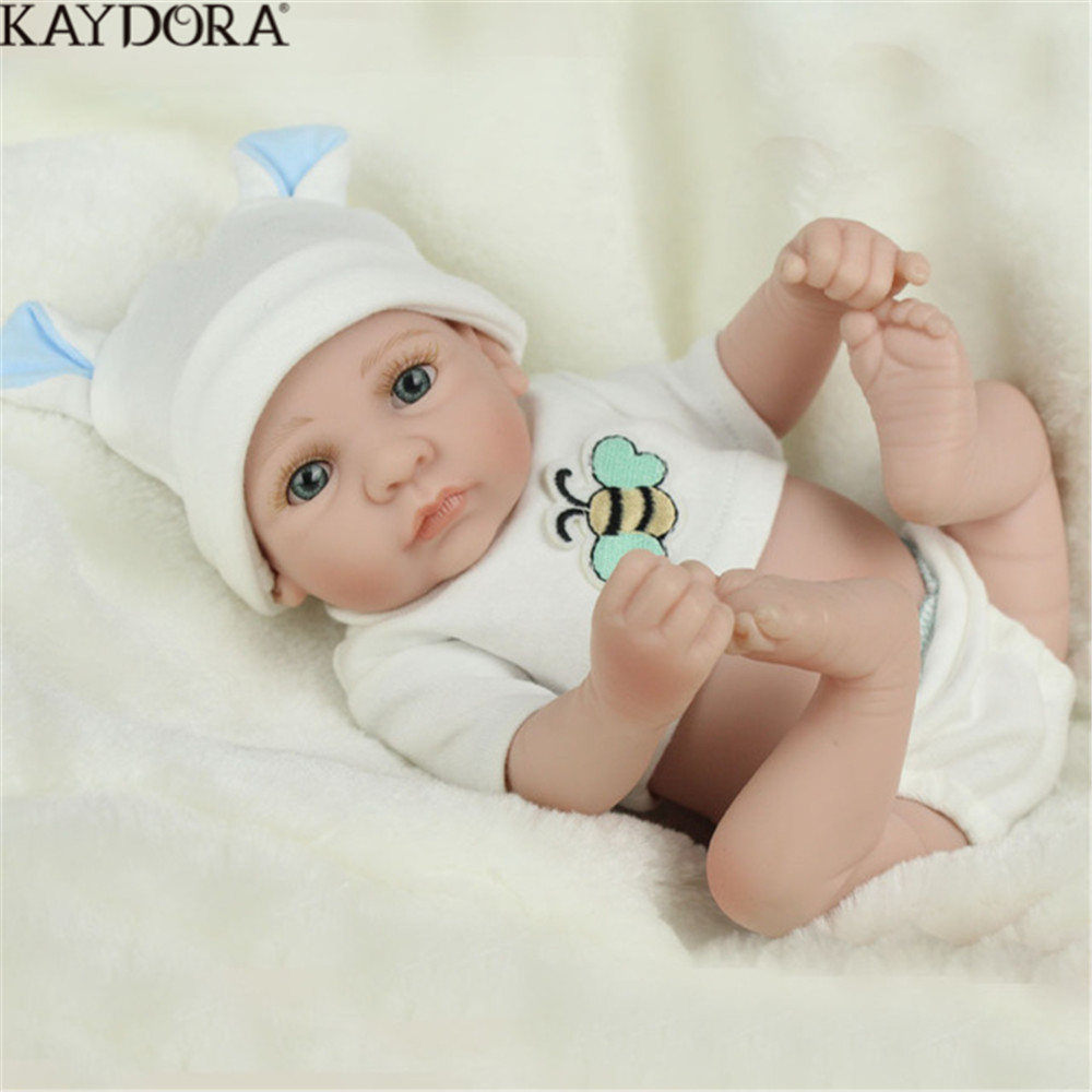 KAYDORA 25cm Baby Reborn Soft Silicone Whole Real Doll Toys For Boy Full Vinyl Dolls Child Gift 1 Years Play House Toy Hot Sale