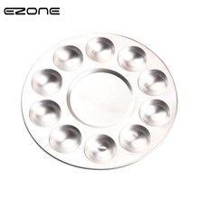 EZONE металлическая палитра цвета воды алюминиевая круглая художественная краска лоток для рисования 10 отверстий цветовая палитра масляная вода цветная Краска Смеситель