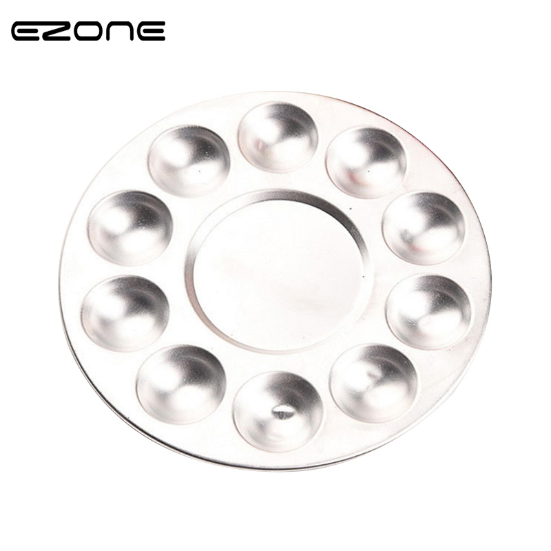 EZONE Metal Watercolor Palette Aluminum Round Art Paint Drawing Tray 10 Holes Color Palette Oil Water Color Painting Color Mixer
