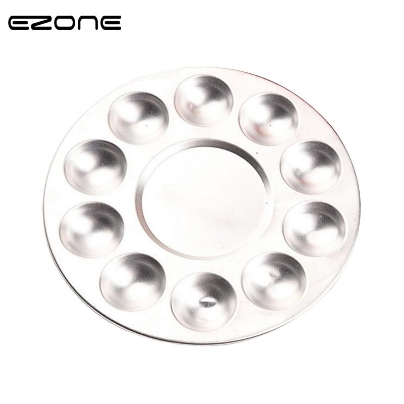EZONE Metal Watercolor Palette Aluminum Round Art Paint Drawing Tray 10 Holes Color Palette Oil Water Color Painting Color Mixer