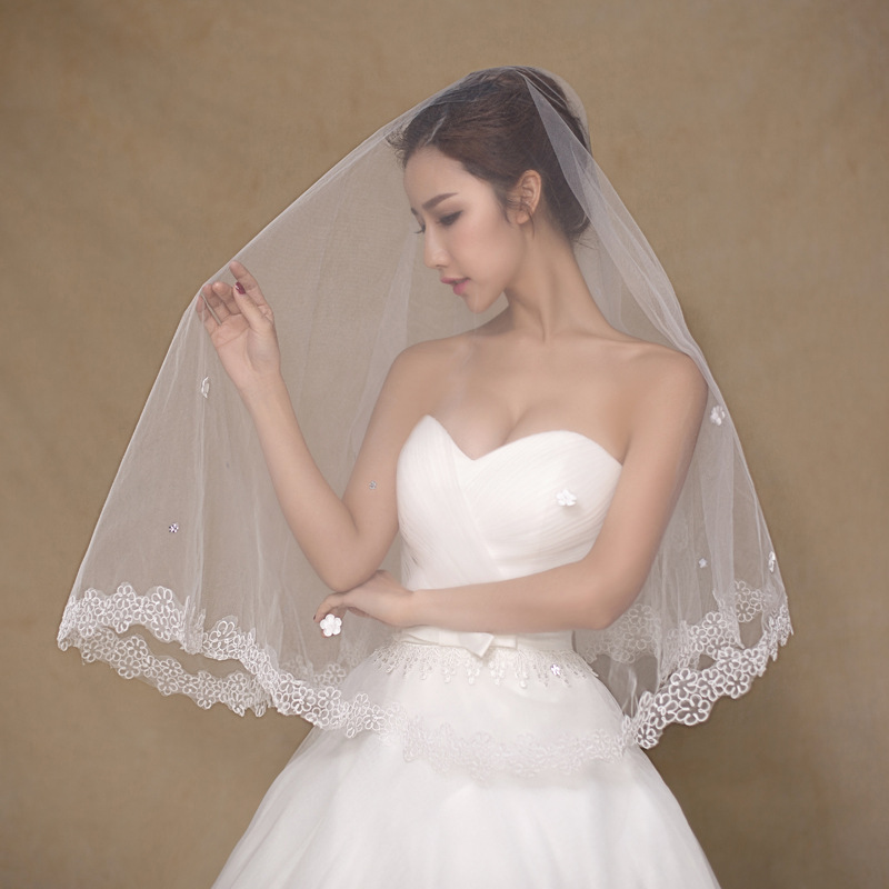 2016 Simple White Wedding Veils 15 Meters With Small Flower Foto Accessories Bridal Accessory Tulle Veil In From Weddings