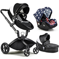 2017 New Brand High Landscape Folding Baby Stroller 3 in 1 (standard stroller+separate sleeping basket+safety car seat)
