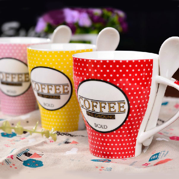 330ml colorful dot ceramic bulk coffee mug creative couples milk cup with spoon valentines gift 2pcs - Colorful Mugs