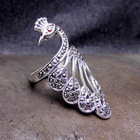 FNJ 925 Silver Peacock Ring Animal MARCASITE New Fashion Original S925 Sterling Silver Rings for Women Jewelry Adjustable Size