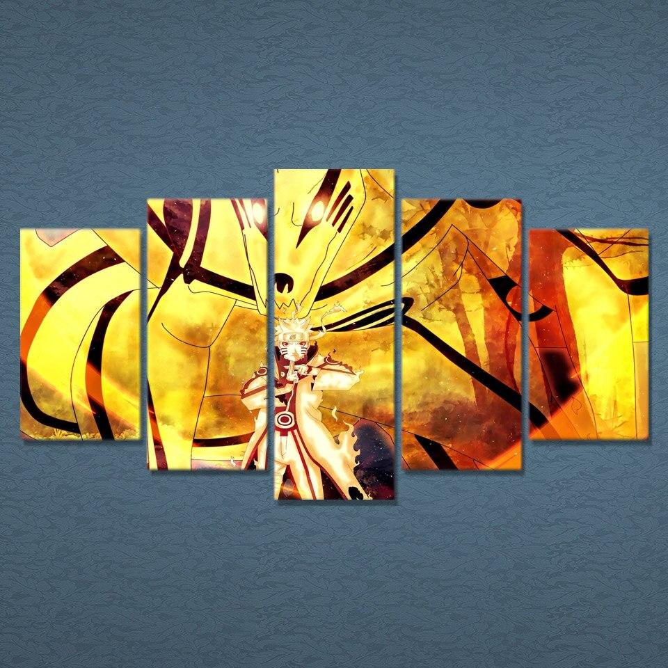 5 Piece Canvas Art Naruto Uzumaki Printed Wall Art Home Decor Canvas ...