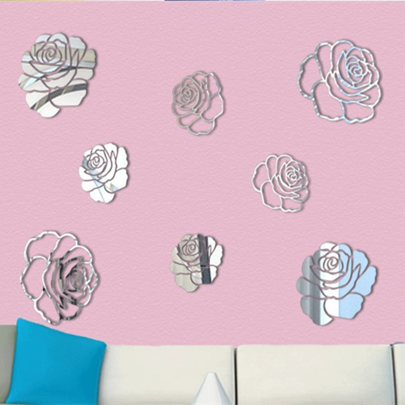 DIY Rose 3D Mirror Stickers For Wall Decoration Home Decor Living ...