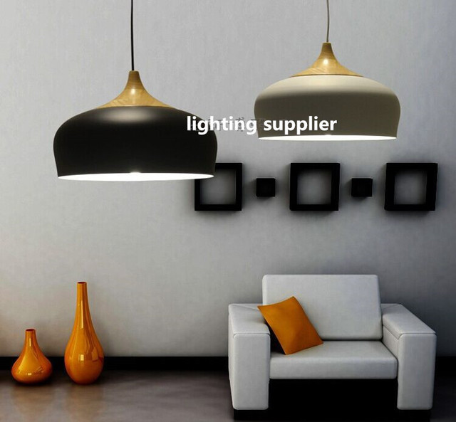 New Modern pendant light Oak Wood lamp E27 socket wood like lampholder Hanging light white black Optionally Review - Amazing modern black pendant light Luxury