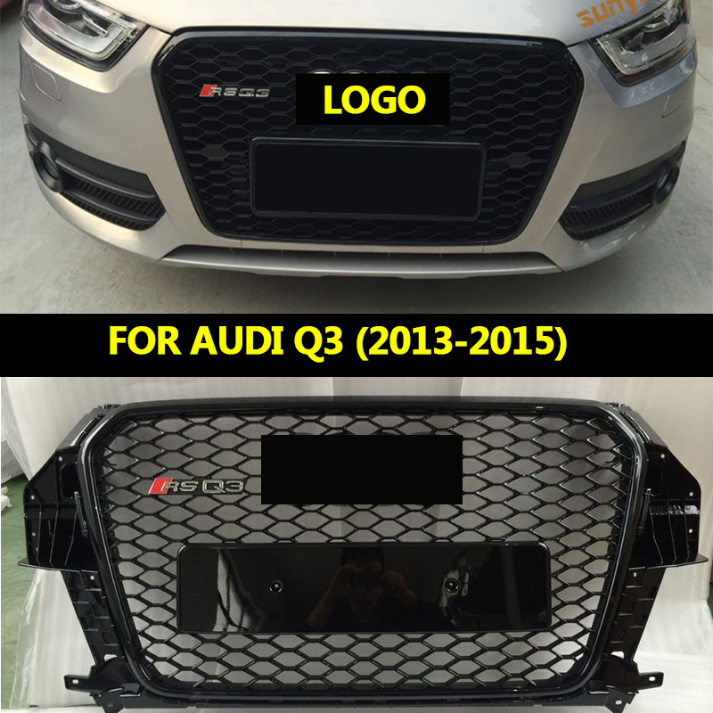 GZ RSQ3 Car Styling ABS Front Bumper Grille center Grill fit For Audi Q3 racing grille 2013 2015