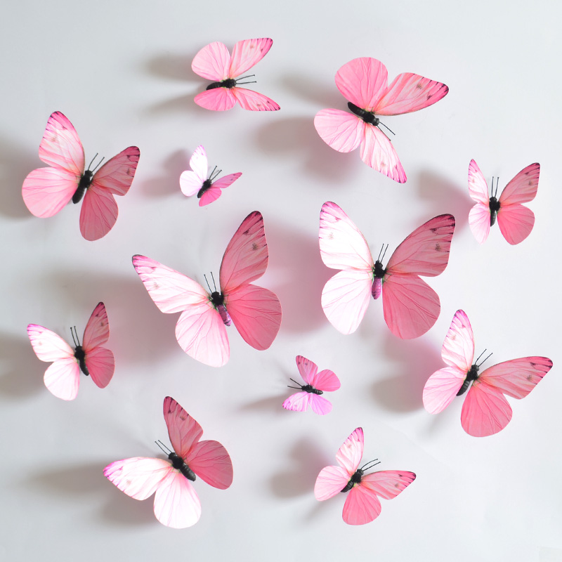 12pcs 3d pink butterfly magnet decor wall stickers decor for 3d butterfly decoration