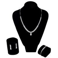 925 Серебряные Ювелирные изделия Набор для Для женщин кубического циркония кулон Цепочки и ожерелья/серьги/браслет элегантные свадебные оча