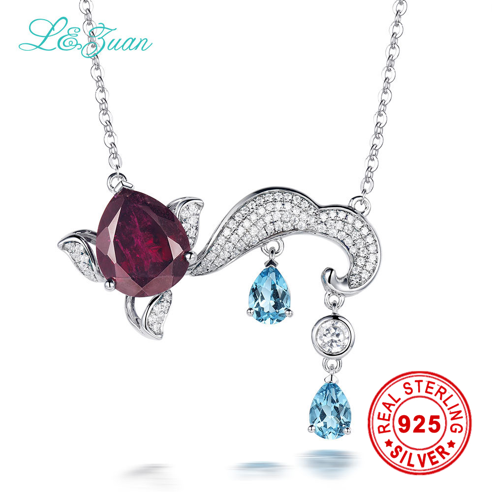 925 sterling silver necklace Natural 7.94ct Garnet Red Stone Pendant necklace Jewelry sterling silver jewelry for women-1