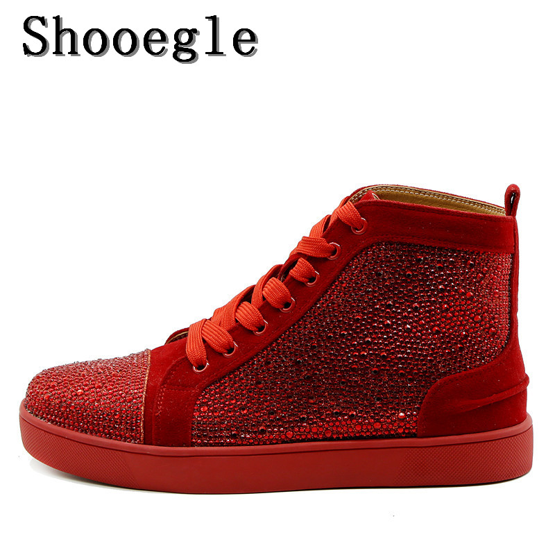 SHOOEGLE Red Gold White Men Rhinestone Sneaker High-top Diamond Lace-up Ankle Boots Zapatillas Hombre Casual Shoes Man EU39-EU47 new spring men shoes trainers leather fashion casual high top walking lace up ankle boots for men red zapatillas hombre