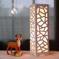 Romântico Padrões Carve Marcenaria escavar Abajur Candeeiro de mesa Sala de estar Moderna Luz Branca LEVOU Luz da Mesa