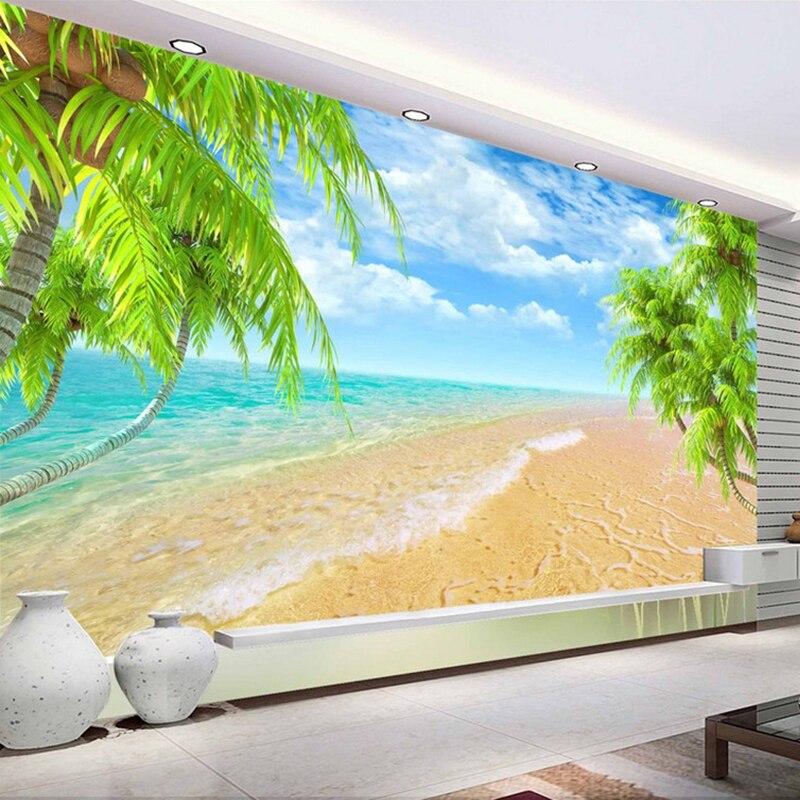 New 3d Wallpaper Mural Seaside Landscape Palm Beach Wall Painting Home Decor Wallpaper Murals Home Improvement