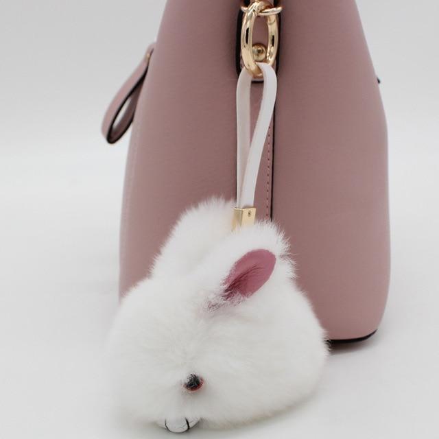 Cute Fluffy Bunny Keychain Pendant Rabbit Fur Pompoms Key Chain Fur Pom Pom  Keychain Bag Charm Car Pendant Key Ring d68ca9f54a86