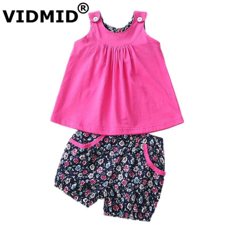 VIDMID Infant baby Girls Clothing Set baby girl clothes Kids cotton Clothes Sets children tank sets summer sleeveless 7010 23 2pcs children outfit clothes kids baby girl off shoulder cotton ruffled sleeve tops striped t shirt blue denim jeans sunsuit set