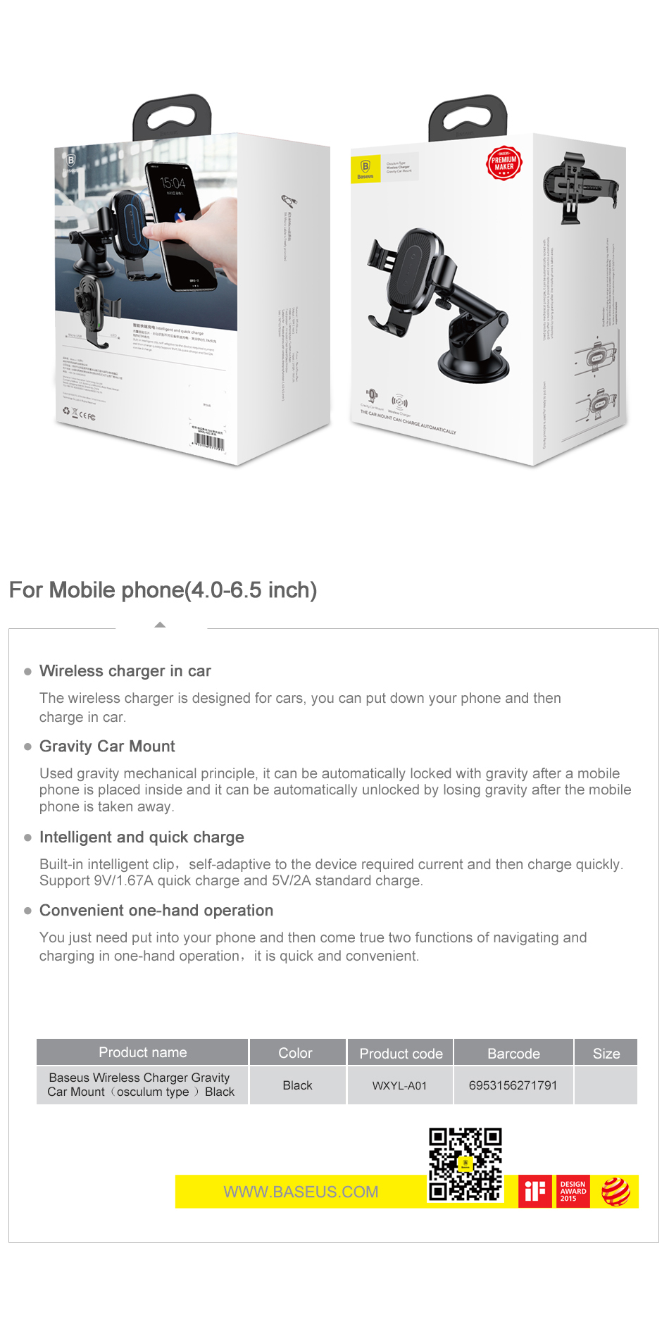 Baseus Wireless Car Charger For iPhone Xs Max Xr X 8 Samsung Note 9 Qi Wireless Charger Fast Wirless Charging Car Phone Holder 11