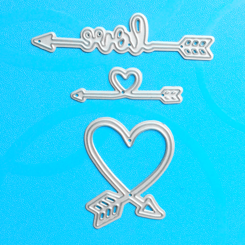 YLCD192 Love Arrows Metal Cutting Dies For Scrapbooking Stencils DIY Album Cards Decoration Embossing Folder Die Cuts Πρότυπο