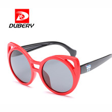 b997869040b DUBERY 3-10 Years Old Girls Polarized Sunglasses TR90 Cat Eye Kids Sun  Glasses Lovely Cartoon Child Eyewear Pink Red Baby 3442