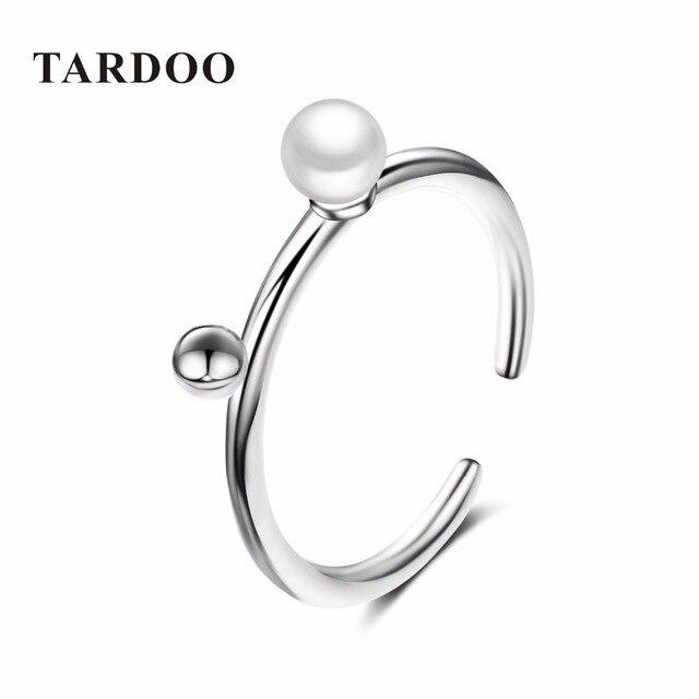Татуировка Стильный Простые манжеты Регулируемые Свадебные кольца для женщин благородный стерлингового серебра 925 & жемчуг влюбленности кольца изящных ювелирных изделий