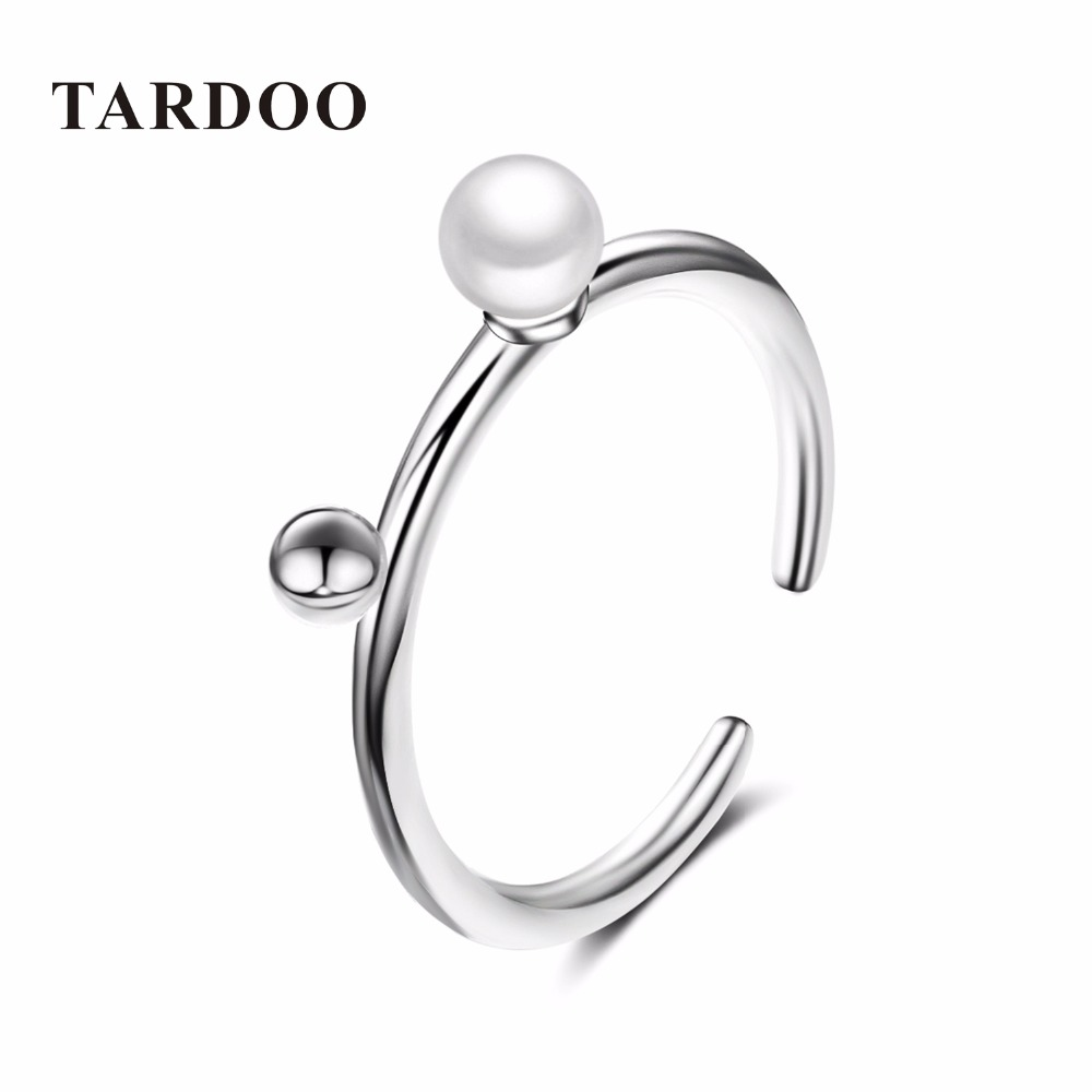 Tardoo Stylish Simple Cuff Adjustable Bridal Rings for Women Noble 925 Sterling Silver Pearls Love Ring