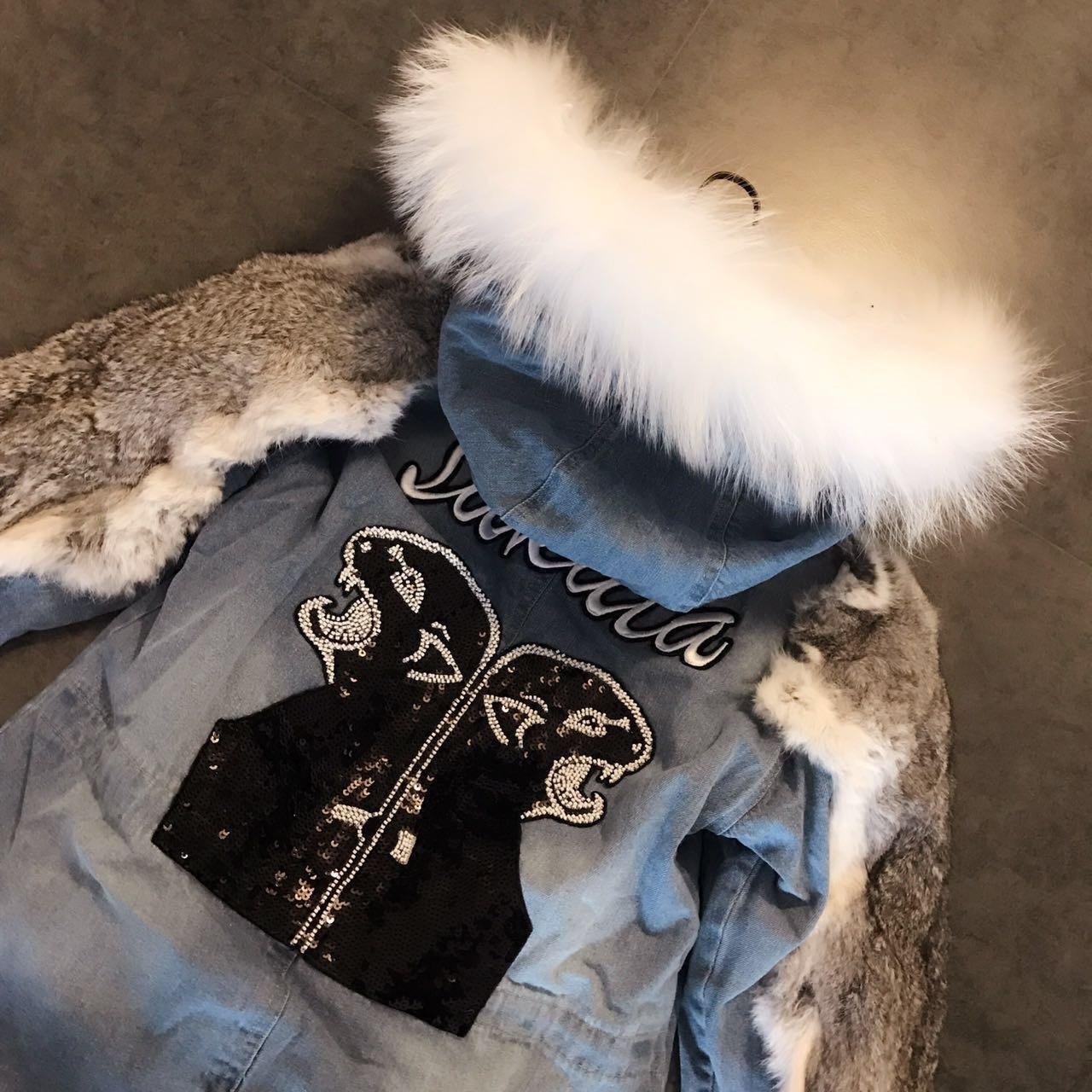 Coton À Grand 2017 Bleu Femmes Épais Dos Arrivée Patchwork De Épissage Col Dessinée Zipper Nouvelle Lapin Manteau Capuchon Long Bande Fourrure D'hiver Nouvelles wBOF1zwAqr