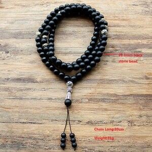 """Image 2 - 8 מ""""מ ו 6 מ""""מ חרוזים שחורים עם סגסוגת צורת קסם 99 חרוזים תפילה האסלאמי המוסלמי Tasbih אללה מוחמד מחרוזת לנשים גברים"""