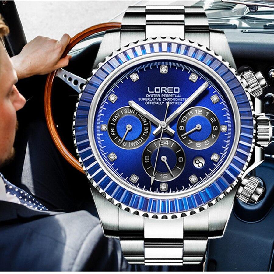 Reloj de pulsera mecánico automático 50M impermeable de cristal para hombre reloj de negocios-in Relojes mecánicos from Relojes de pulsera    1