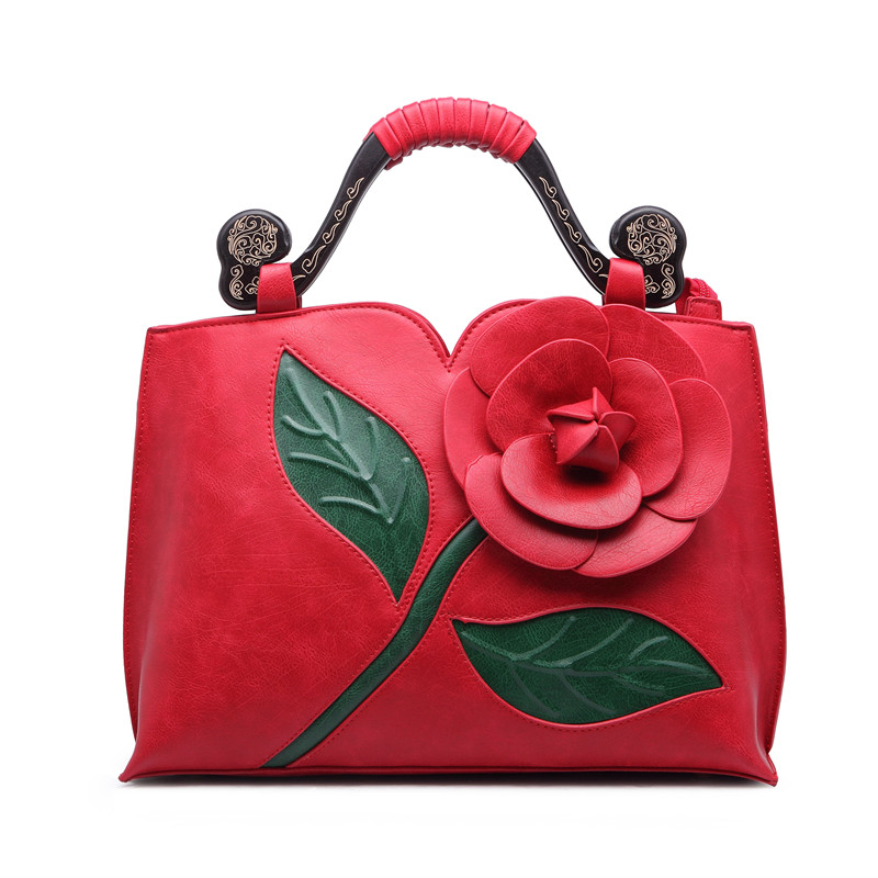 3d Flower Women s Top handle Bags Pu Leather Red Handbag For Bride Wedding Luxury Tote