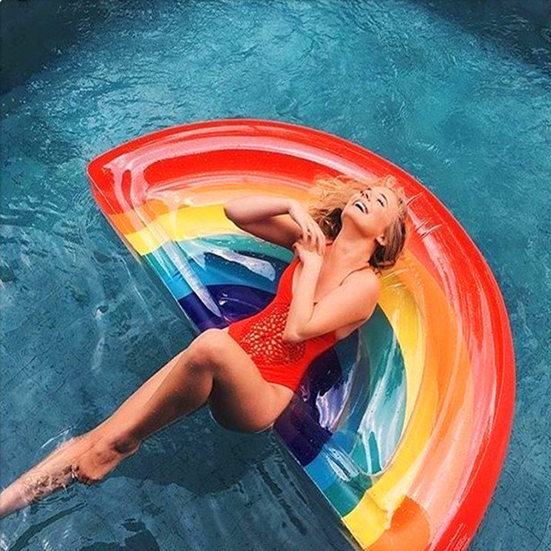 New Inflatable In Water Semicircle Watermelon Rainbow Floating Row Air Mattresses Swim Rings Summer Swimming Pool giant pool float inflatable watermelo lazy air mattress bed swim ring feamle floating row water fun toy swimming laps
