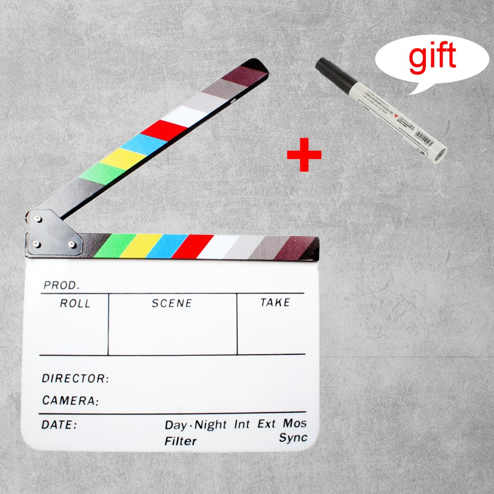 30 x 25cm Colorful Clapper Board Slate Director TV Film Movie Acrylic Action Clapperboard + Free Pen