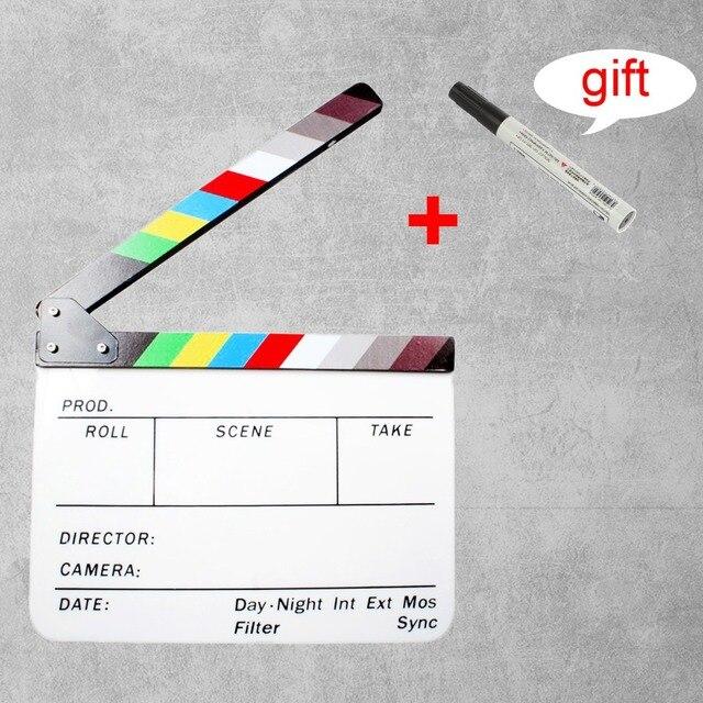 30x25 cm Colorido Claquete Diretor TV do Filme do filme Clapper Board Slate Ação de Acrílico + Caneta Livre