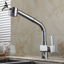 Kitchen Faucet Chrome Silver Brass Kitchen Sink Faucet Tall Pull Out Spray Single Lever Deck Hot Cold Mixer Water Tap GYD-5104L