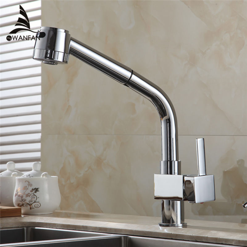 Kitchen Faucet Chrome Silver Brass Kitchen Sink Faucet Tall Pull Out Spray Single Lever Deck Hot Cold Mixer Water Tap GYD-5104L black chrome kitchen faucet pull out sink faucets mixer cold and hot kitchen tap single hole water tap torneira