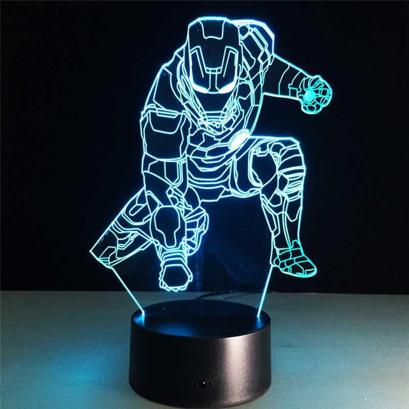 3D 밤 램프 RGB LED 조명 테이블 램프 슈퍼 히어로 야간 조명 새해 장식 아기 잠자는 크리 에이 티브 램프 키즈
