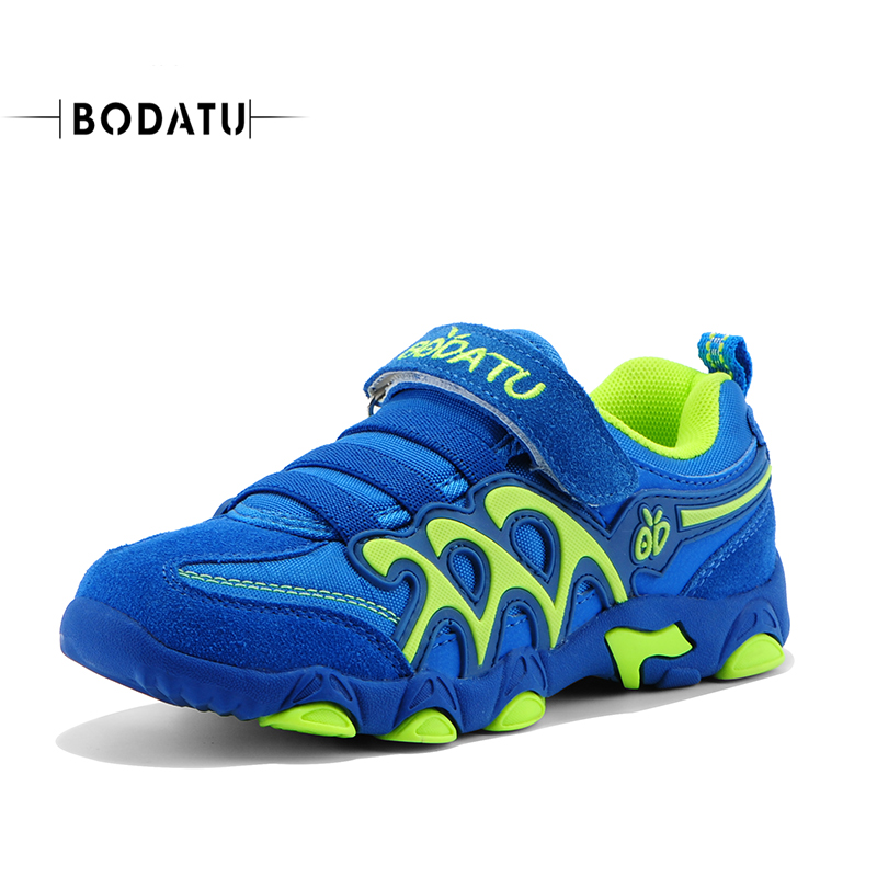 BODATU Kid Fashion Shoes Color Boys Leather Sneaker School Casual Girl Shoes Hook & Loop Brand Spring Autumn Sport Shoes D115