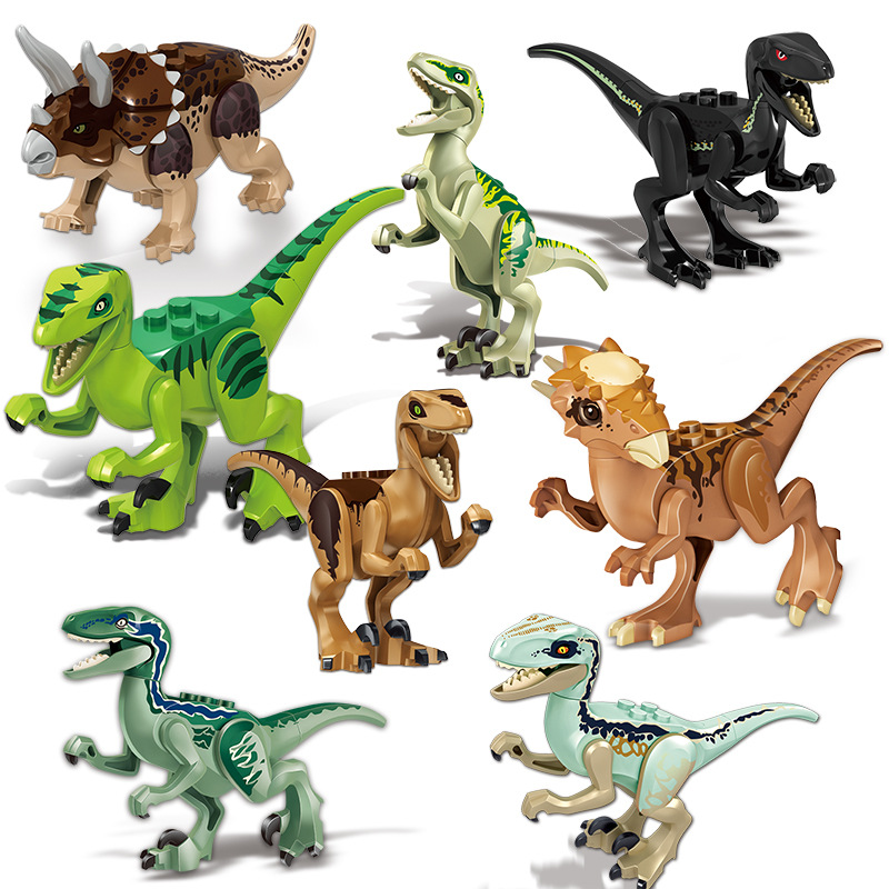 8 Pcs/lot Jurassic Dinosaur DIY Assembly Building Blocks Dino Toys Jurassic World Bricks Compatible With Legoings Dinosaur Toys