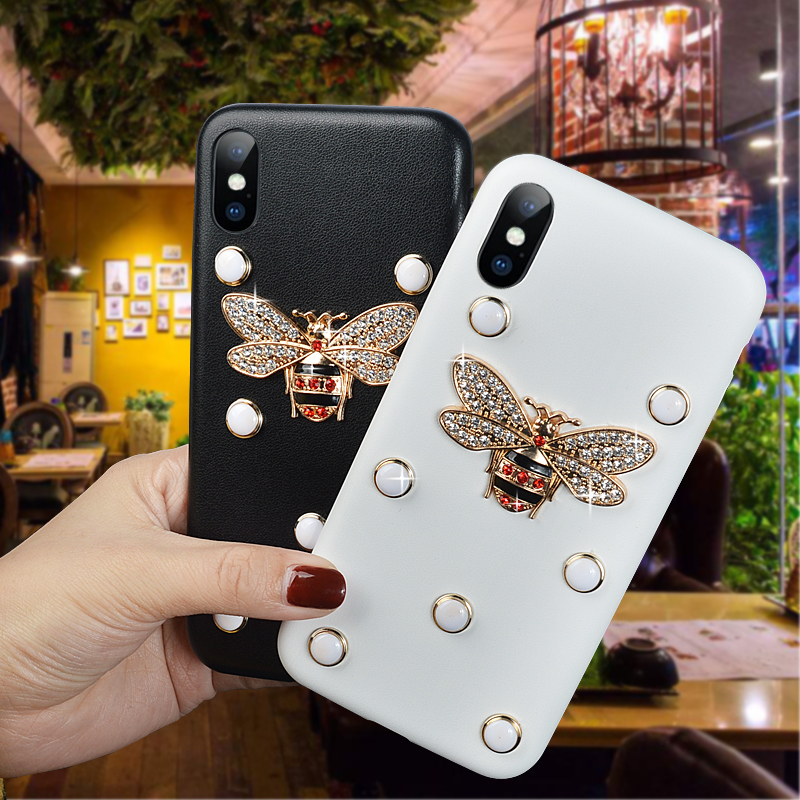 Luxury Phone Case For iPhone X Soft Leather Back Cover For iPhone 8 7 Plus 6 6S Plus 5 5S SE DIY Bling Glitter Crystal Bee Cases