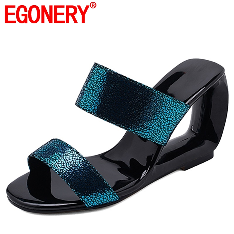 EGONERY woman slippers Synthetic leather fashion shoes open toe summer high Fretwork heel mules wedges outside Slides plus sizeEGONERY woman slippers Synthetic leather fashion shoes open toe summer high Fretwork heel mules wedges outside Slides plus size