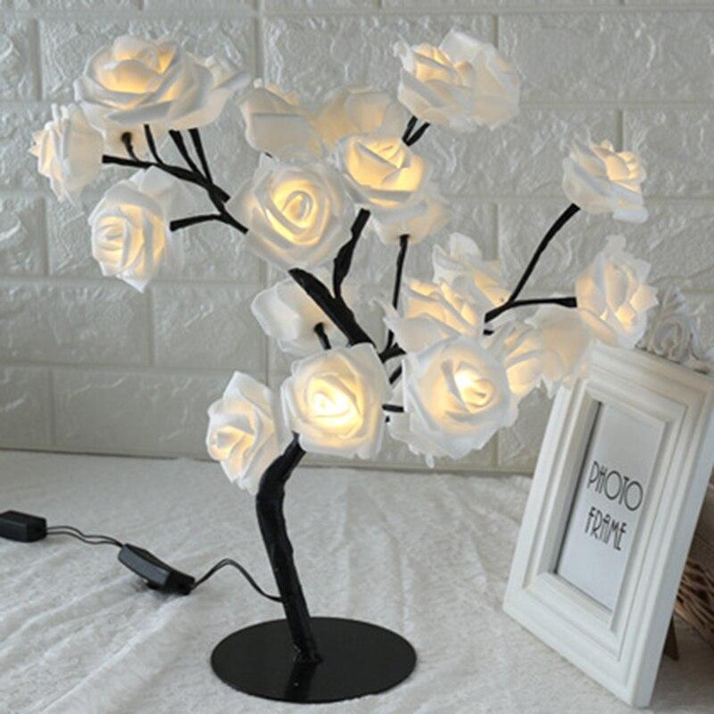 Rosa a Forma di Fiore Lampada da Tavolo Rosa Albero di Luce Decorativa per Soggiorno Camera da Letto HYD88