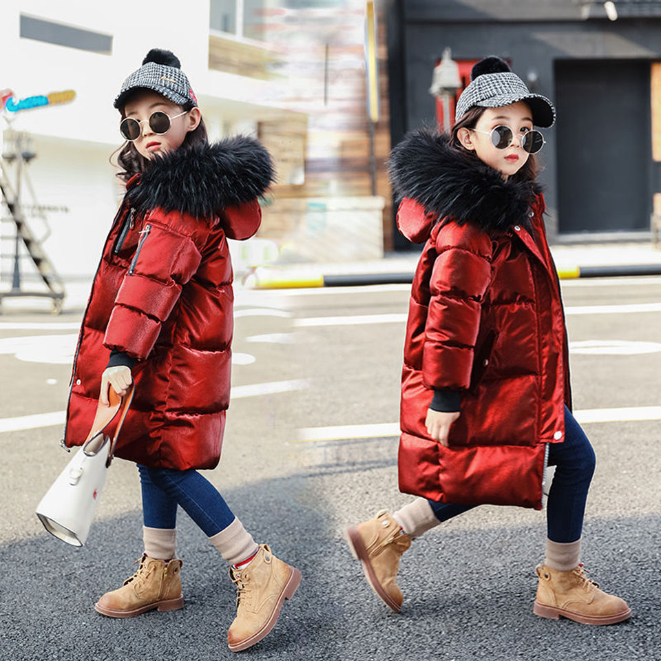 2018 New Winter Big Girls Warm Thick Jacket Outwear Clothes Cotton Padded Kids Teenage Coat Children Faux Fur Hooded Parkas new 2017 winter cotton coat women slim outwear medium long padded jacket thick fur hooded wadded warm parkas winterjas cm1634