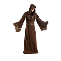 Wholesale Mysterious Dark Brown Men's Halloween Wizard Cosplay Medieval Monks Priest Robe Costumes Cloak Dress M4863