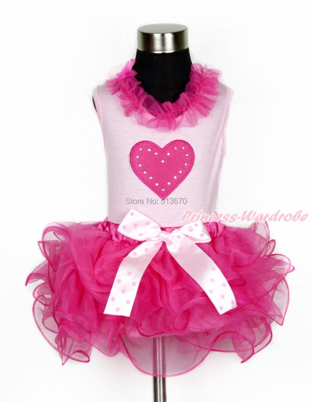 Valentine Hot Pink Heart Girl Light Pink Top Hot Pink Petal Pettiskirt NB-8Year MAPSA0105 8x10ft valentine s day photography pink love heart shape adult portrait backdrop d 7324