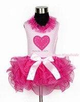 Valentine Hot Pink Heart Girl Light Pink Top Hot Pink Petal Pettiskirt NB-8Year MAPSA0105
